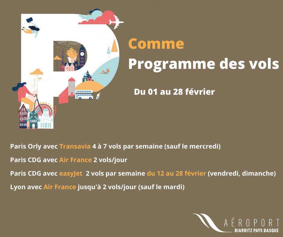 Programme des vols Février 2021 Biarritz